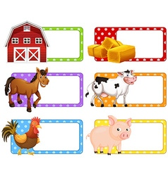 Labels with different farm animals vector