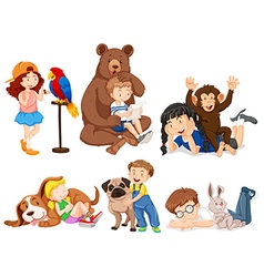 Children with wild animals vector