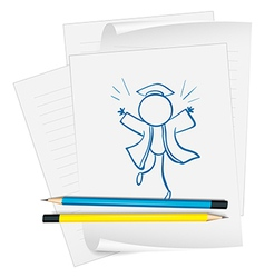 A paper with a sketch of a graduate vector image vector image