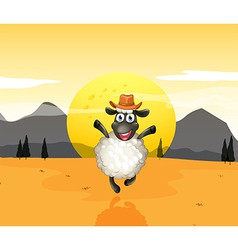 A sheep in the middle of the desert vector image vector image