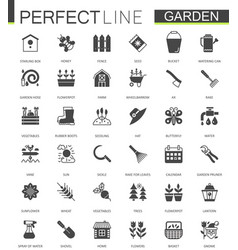 black classic web gardening icons set vector image