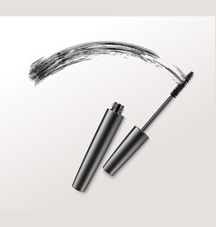 Black mascara brush strockes on background vector