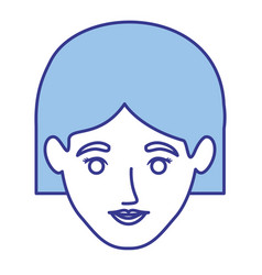 blue silhouette of woman with short hair vector image