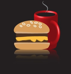 Business lunch burger coffee vector