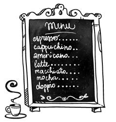 Coffee shop menu on a chalkboard vector