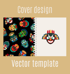 Cover design with tribal mask pattern vector