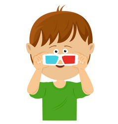 cute little boy wearing 3d glasses vector image vector image