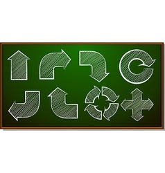 Different shapes of arrows on blackboard vector