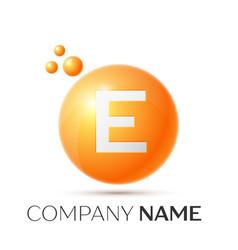 E letter splash orange dots and circle bubble vector