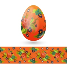 Easter egg decorated with vintage floral pattern vector image
