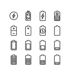 Electric battery phone charging thin line vector