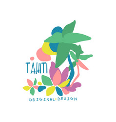 exotic summer vacation colorful tahiti logo vector image