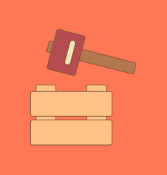 Flat icon on background kids toy hammer vector