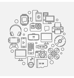 Gadgets concept round vector image vector image