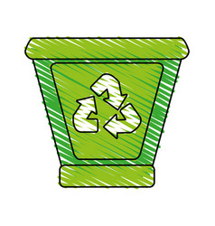 Garbage can with recycle arrows icon image vector