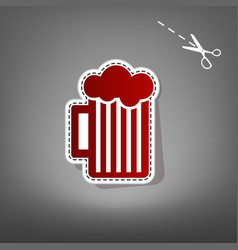 Glass of beer sign red icon with for vector