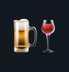 Glass of wine and beer vector