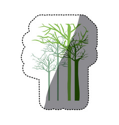 Green trees without leaves icon vector
