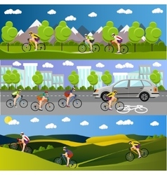 Group of bicycle riders on bikes in mountains vector