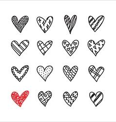 Hand drawn doodle hearts with different pattern vector image vector image