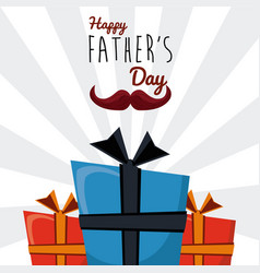 Happy fathers day greeting card mustache gift vector