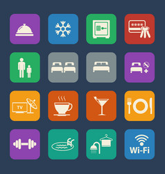 Hotel icons set flat design for website and vector