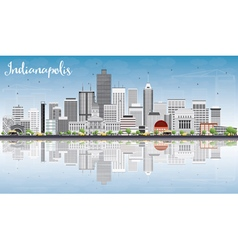 Indianapolis Skyline with Gray Buildings vector image