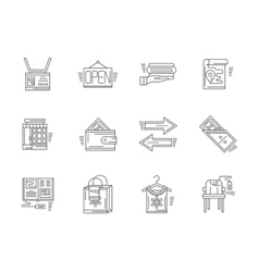 Linear icons for commission shop vector image
