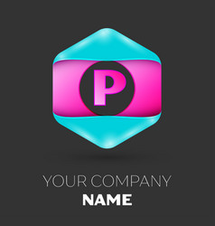 Realistic letter p logo in colorful hexagonal vector