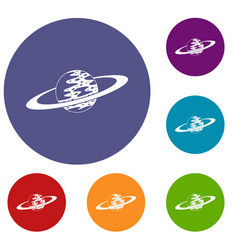 saturn icons set vector image