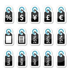 Shopping price tag sale icons set vector image vector image