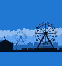 silhouette of amusement park scenery background vector image