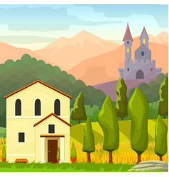 square medieval landscape vector image vector image