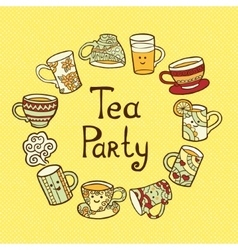 Tea party card with doodle cups vector