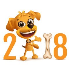 Yellow dog symbol 2018 year on chinese calendar vector