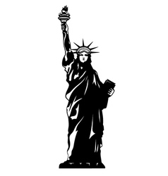 Statue of liberty black and white new york vector