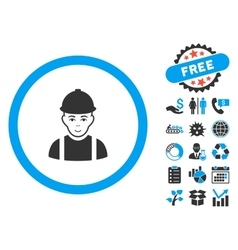 Worker flat icon with bonus vector