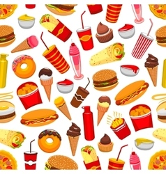 Fast food meal seamless pattern vector image