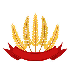 Bunch of wheat with ribbon frame flat style vector