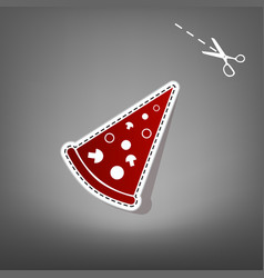 pizza simple sign  red icon with for vector image