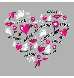 Love symbols in heart shape vector