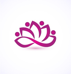 Purple lotus flower logo vector image