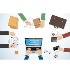 Top view business desk with hands and tools vector