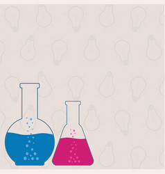 Flasks beakers chemical laboratory equipment on vector