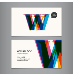 Business card template letter w vector