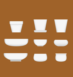 White ceramic bowl in realistic style vector