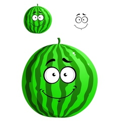 Green cartoon watermelon vector
