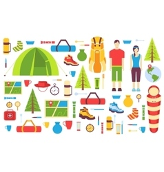 Camping trip cards set hiking template of flyear vector