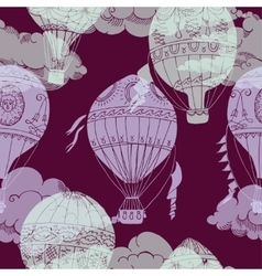 Seamless pattern with clouds and hot air ballons vector