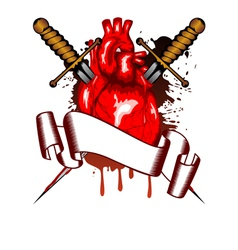 heart and daggers vector image